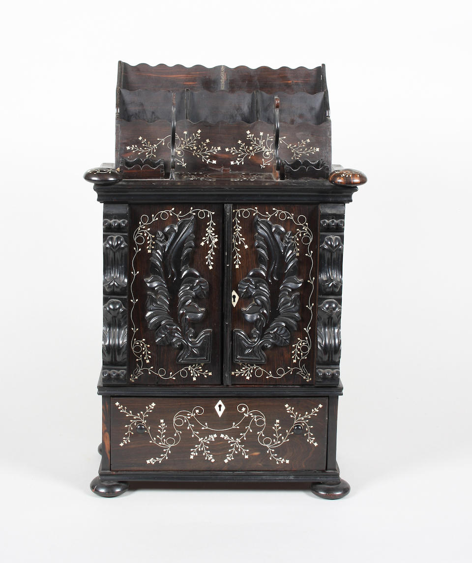 A good early 19th century Singalese ebony and bone inlaid desk cabinet