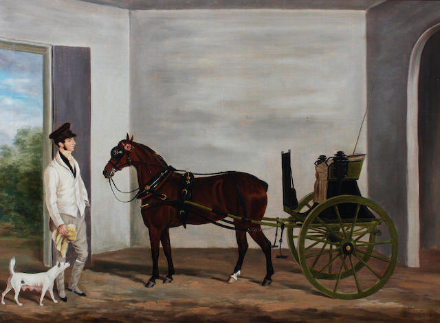 James Loder Of Bath (British, 1784-1860) Pony and trap with groom in a coach house 62 x 84.5cm.