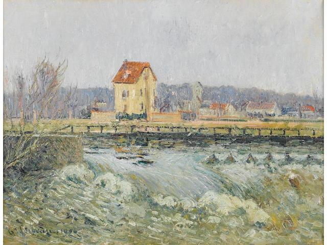 Gustave Loiseau (French, 1865-1935) Barrage à Pontoise, 46 x 61 cm (18 x 24 in)