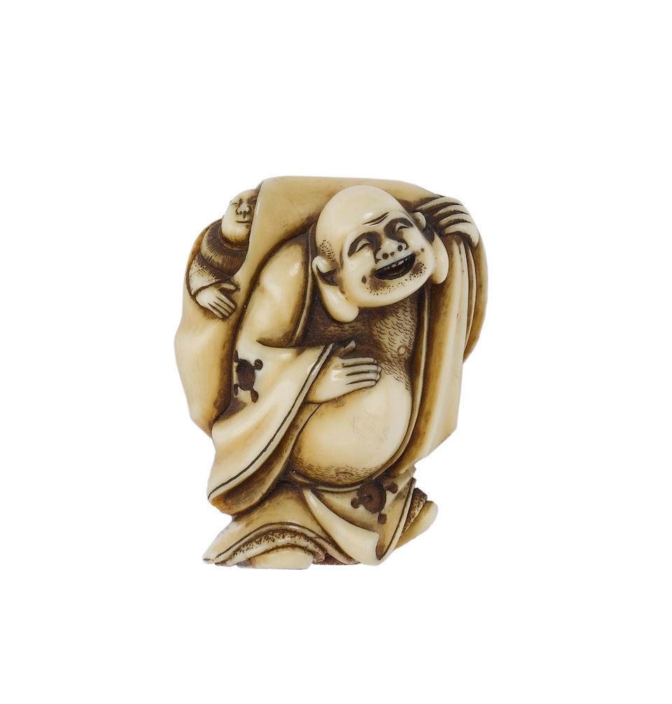 Four ivory figure netsuke, comprising; Hotei; Jurojin; a man with a back-scratcher; and a karako with a sack