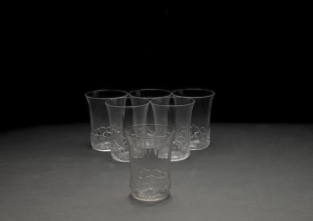 René Lalique 'Haarlem' a Clear Glass Drinks Set, design 1924