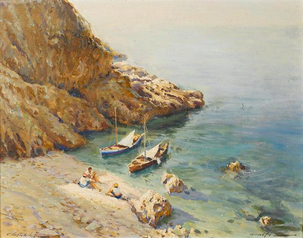 Constantin Aleksandrovich Westchiloff (Russian, 1877-1945) Beach cove at Amalfi