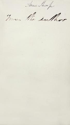 AUSTEN (JANE) Emma, 3 vol., FIRST EDITION, AUTHOR'S PRESENTATION COPY TO ANNE SHARP