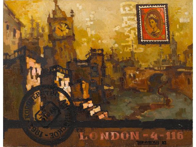 Oscar Yakovlevich Rabin (Russian, born 1928) 'The Kingdom of England. London' ('Korolevstva Angliskaya. London')
