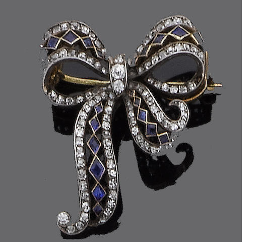 An early 20th century sapphire and diamond bow brooch,