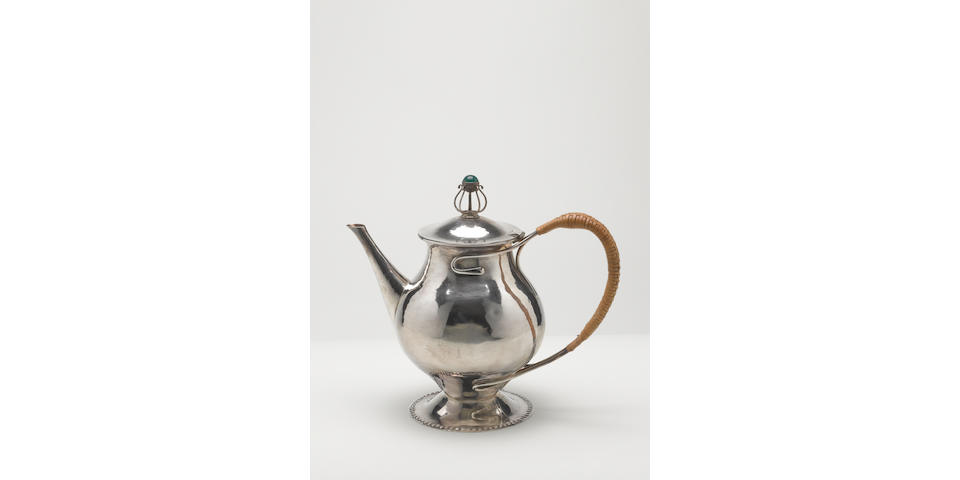 Charles Robert Ashbee for the Guild of Handicraft Ltd. A Silver and Chrysophrase Lidded Tea Pot, 1901