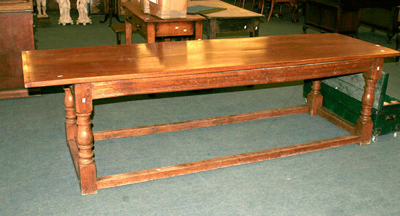 A 20th century oak refectory table