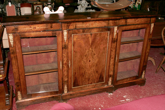 A Victorian walnut inlaid and gilt metal mounted cabinet,