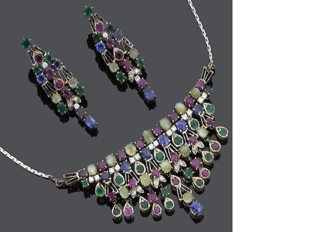 A sapphire, emerald, ruby, chrysoberyl and diamond necklace, earring and ring suite
