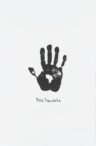 Nelson Mandela (South African, born 1918) Hand of Africa (Right Hand) (image size)