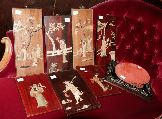 Seven various Chinese lacquered wood panels