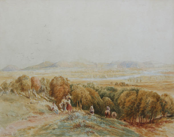 Circle of David Cox Snr., O.W.S. (British, 1783-1859) Travellers on a hillside path, valley beyond 30 x 41cm.