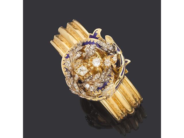 A 19th  century diamond and enamel brooch/bangle,