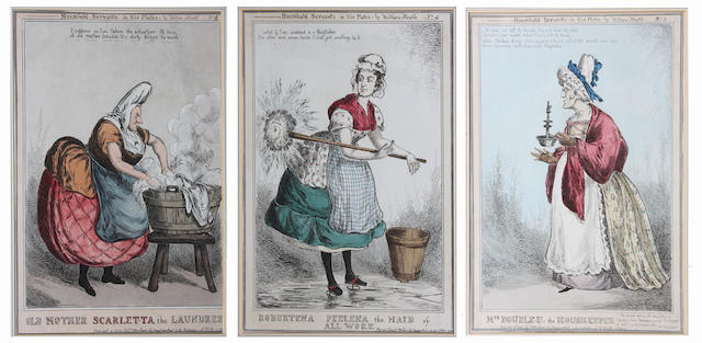 William Heath (British, 1795-1840) Household Servants in Six Plates, Plates 1 - 6 I. 34.5 x 24cm.
