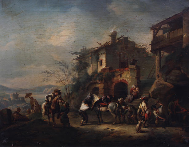 Manner of Philips Wouwerman (19th Century) Travellers outside a tavern 42 x 49cm.