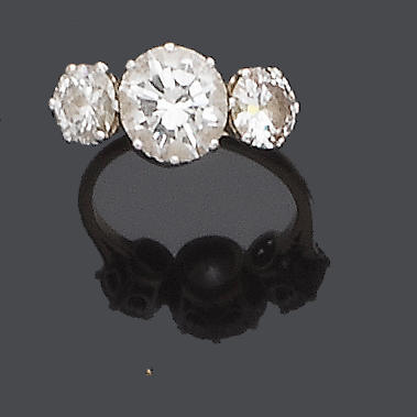 A diamond three-stone ring, by Boodle & Dunthorne