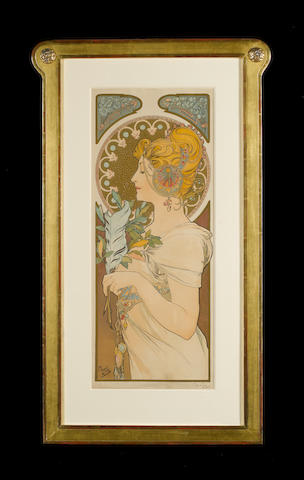 Alphonse Mucha (Czech, 1860-1939) The Quill  Lithograph, 1899, printed in colours, on textured wove