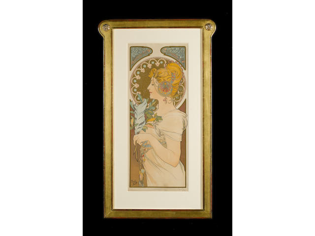 Alphonse Mucha (Czech, 1860-1939) The Quill Lithograph, 1899, printed in colours, on textured wove paper, signed in pencil, published by F Champenois, Paris, with margins; taped to back board at sheet corners, some tears and nicks at sheet edges, minor paper loss lower left and right corners, some creasing and damage to the surface of the paper along the top of the image,  445 x 220mm (17 1/2 x 8 3/4in)(I)