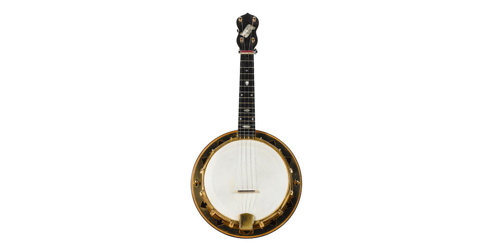 George Formby/George Harrison: A gold-plated Dallas 'E' banjolele,