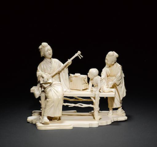 An extremely impressive ivory okimono Meiji Period