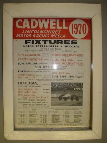 A Cadwell Park 1970 Fixtures display board,