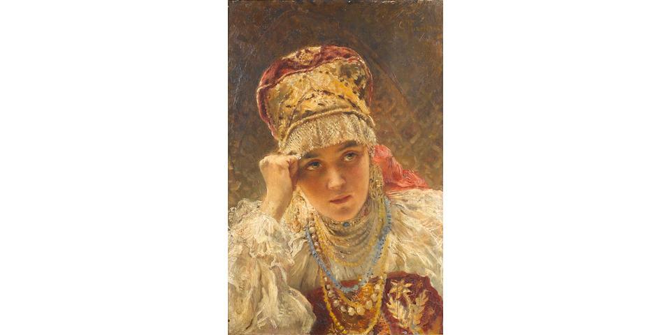 Konstantin Egorovich Makovsky (Russian, 1839-1915) A young boyarina
