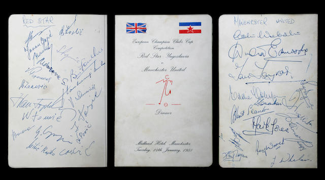 Red Star Belgrade/Manchester United Busby Babes signed dinner menu