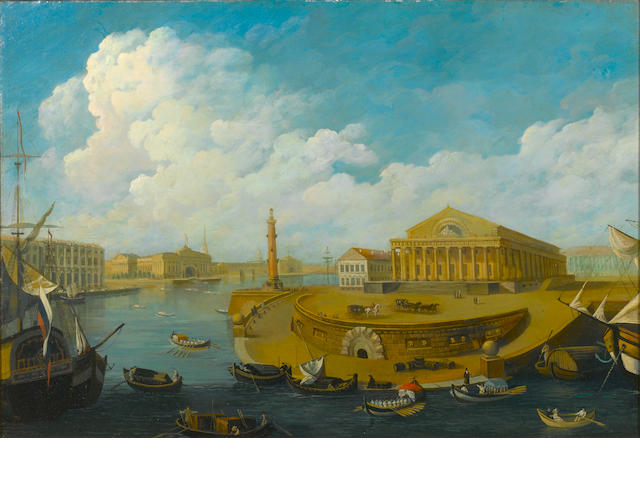 Russian School, first half 19th Century The St. Petersburg Stock Exchange and The Rostral Columns