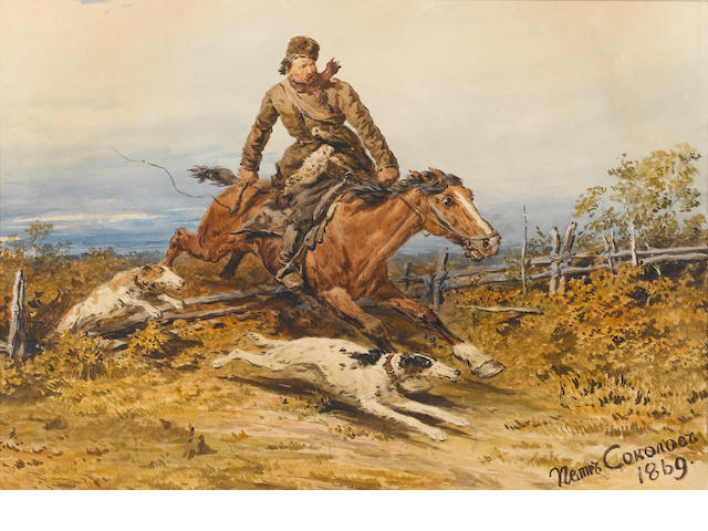 Petr Petrovich Sokolov (Russian, 1821-1899) In hot pursuit
