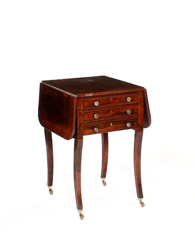 A 19th century rosewood drop flap work or writing table,
