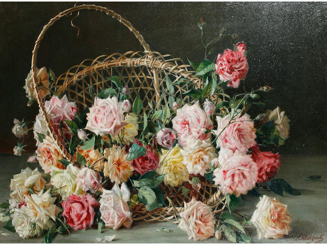 Licinio Barzanti (Italian, 1857-1944) Still life of roses in a basket