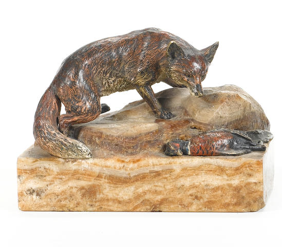 0 J. Csadek (Austrian): An early 20th century cold painted bronze model of a fox and a pheasant