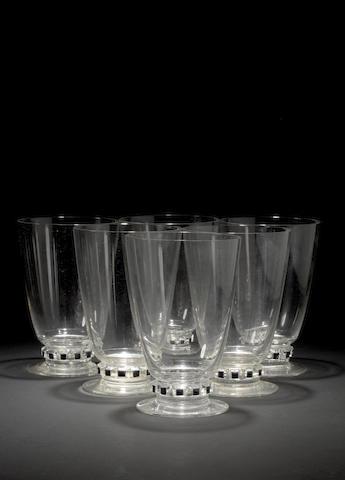René Lalique 'Unawihr' a Set of Six Whiskey Glasses, design 1932