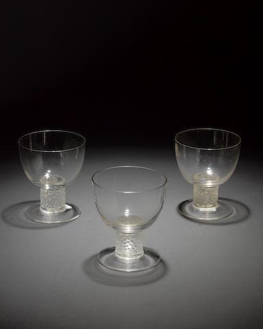 René Lalique 'Ricquewihr' a Suite of Nine Glasses, design 1925