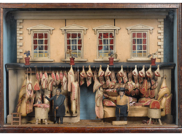 A fine carved wooden model of a Butchers Shope, English mid 19th century