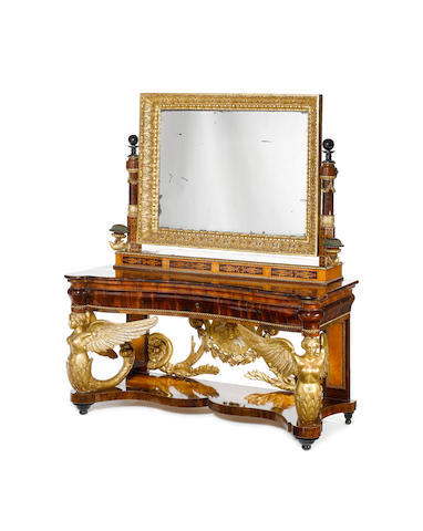 An early 19th century Spanish giltwood, fruitwood and marquetry console-table and mirror