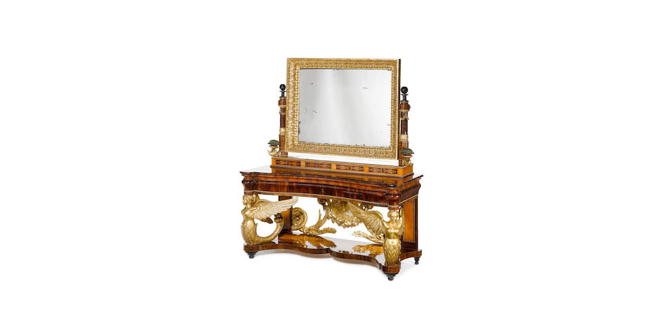 A Spanish early 19th century giltwood, fruitwood and marquetry console-table and mirror