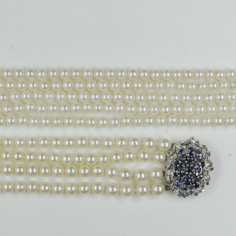 A four row graduated cultured pearl necklace