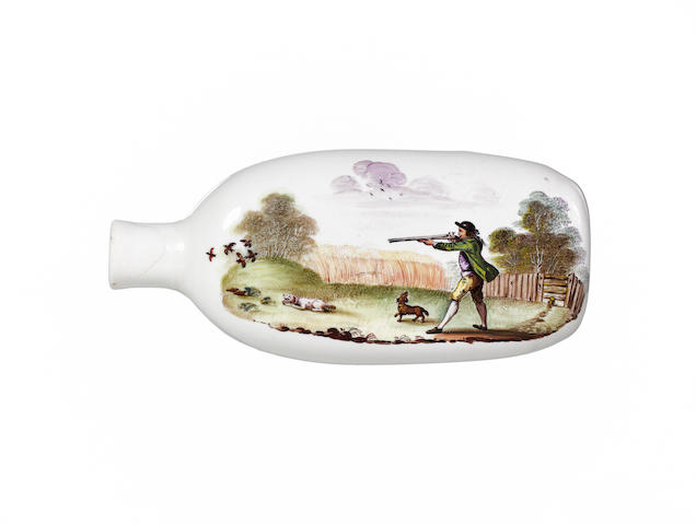 An interesting South Staffordshire enamelled opaque-white flask circa 1760