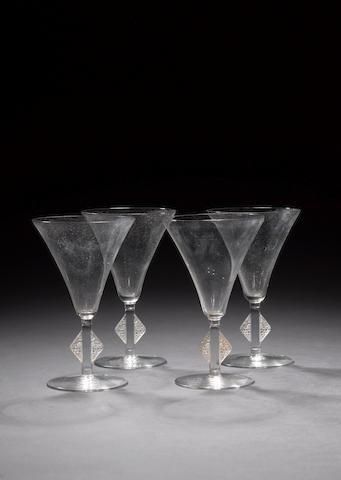 René Lalique 'Saverne' a Suite of Nine Champagne Glasses, design 1924