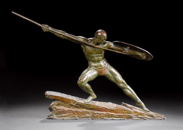 Pierre Le Faguays  An Impressive Patinated Bronze Figure, circa 1925