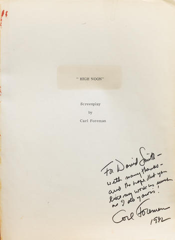 An original, autographed 'High Noon' film script,