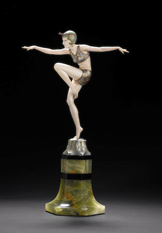 Ferdinand Preiss 'Con Brio' a Cold-Painted Bronze and Carved Ivory Figure, circa 1925