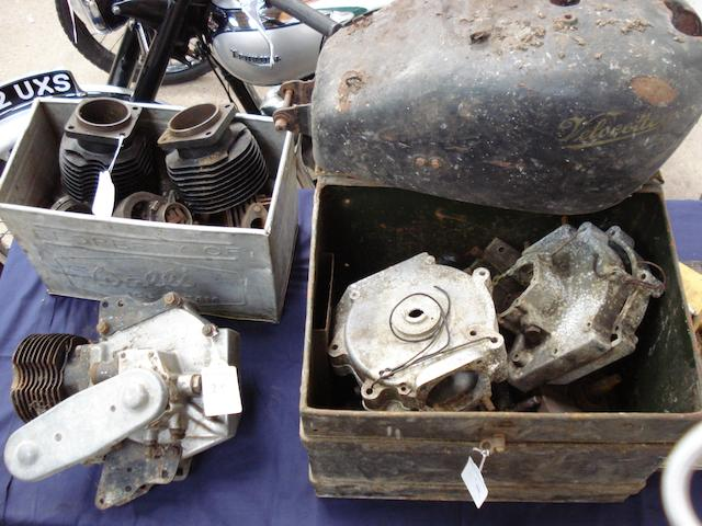 A quantity of largely vintage Velocette spares,