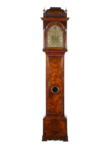 A good early 18th century burr walnut longcase clock  Windmills, London