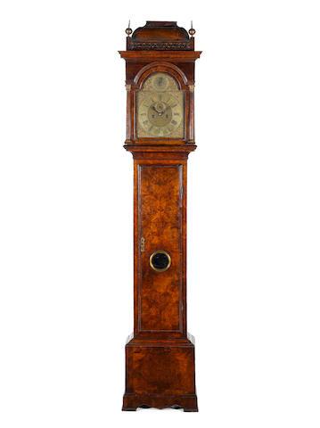 A good early 18th century burr walnut longcase clock  Windmills, London