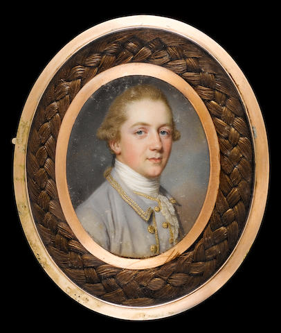 (n/a) John Smart (English, 1742/43-1811) Thomas Russell (1750-1814), wearing pale grey coat and waistcoat trimmed with gold braid and buttons, white stock and lace cravat, his hair worn en queue