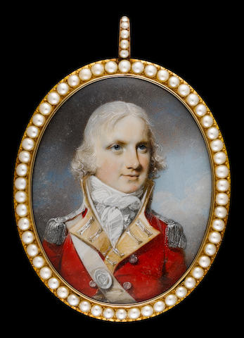 (n/a) George Engleheart (British, 1750-1829) A Field Officer of the 86th Regiment of Foot, wearing red coatee with yellow facings and silver epaulettes, white cross belt, the belt plate bearing number 86, his hair powdered
