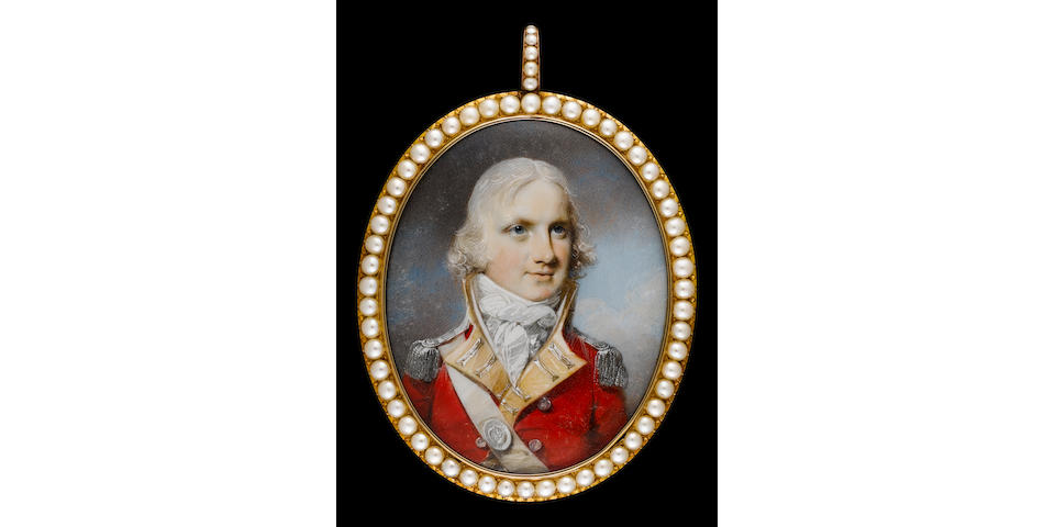 George Engleheart (British, 1750-1829) A Field Officer of the 86th Regiment of Foot, wearing red coatee with yellow facings and silver epaulettes, white cross belt, the belt plate bearing number 86, his hair powdered