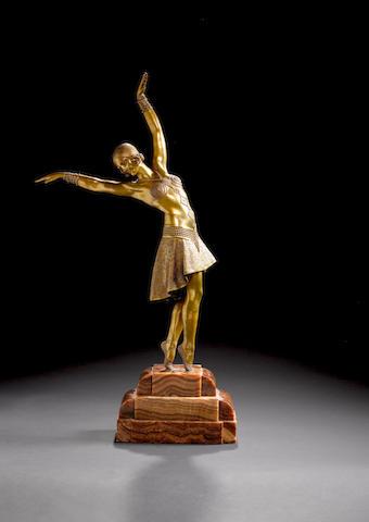 Demetre Chiparus  `Vedette' A Large Gilt Bronze Figure, circa 1930